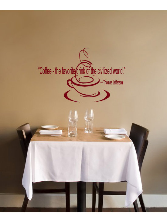 Vinyl Decals Coffee Jefferson Quote Home Wall Decor Removable Sticker Mural L517 -