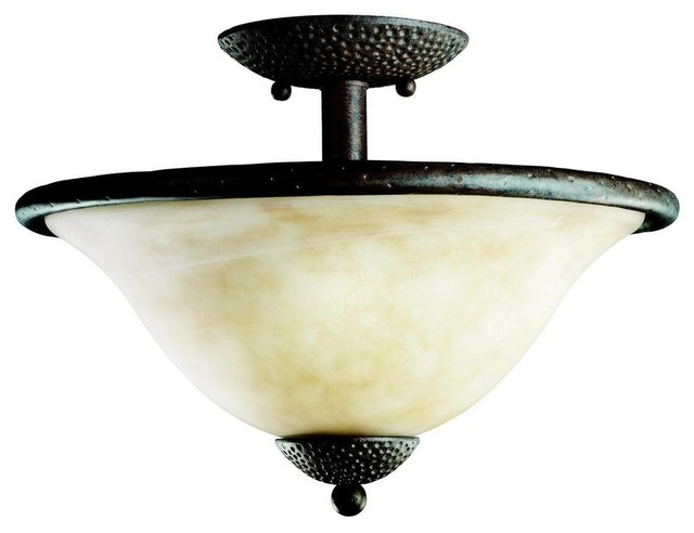 Kichler High Country Semi-Flush Mount Ceiling Fixture in Old Iron rustic-ceiling-lighting