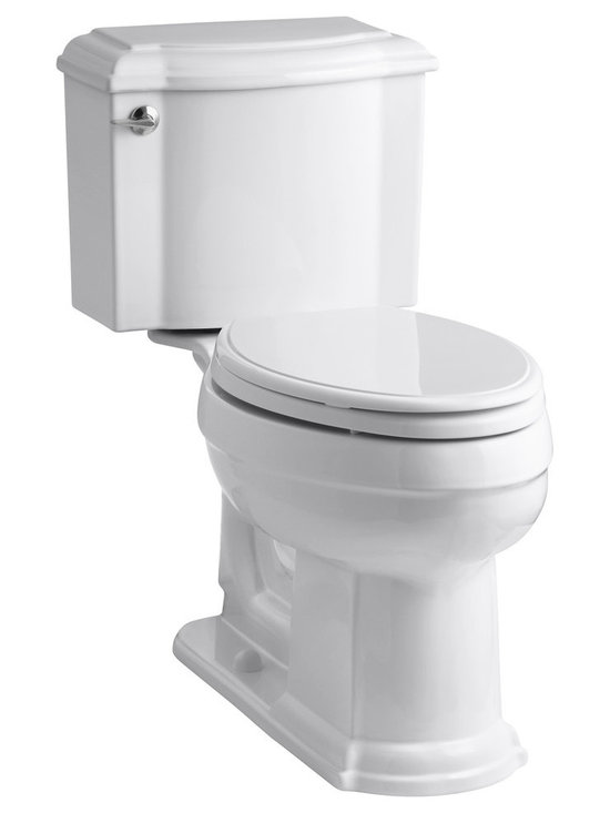 KOHLER - KOHLER K-3837-0-P Devonshire Comfort Height Two-Piece Elongated 1.28 GPF Toilet - KOHLER K-3837-0-P Devonshire Comfort Height two-piece elongated 1.28 GPF toilet with Class Five flush system and left-hand trip lever