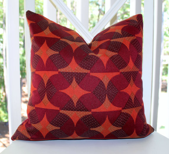 Burgundy Purple Orange Plum Geometric Mod Pillow Cover pillows