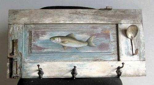 Fish Paintings On Rustic Shutter farmhouse-artwork