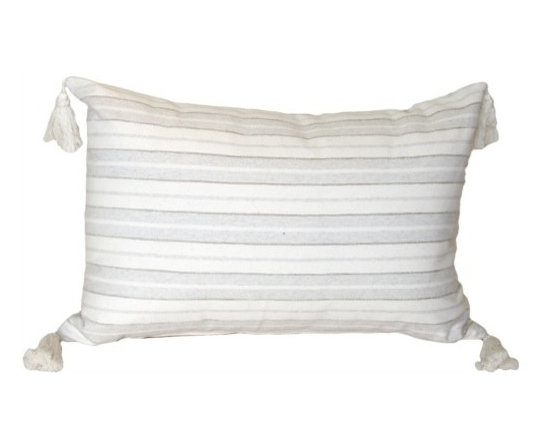 Pillow Decor - Pillow Decor - Cream and Neutral Stripes Rectangular Accent Pillow - Horizontal stripes in cream and natural linen color are outlined in chenille. Completing the stylish contemporary European design are creamy cotton tassels on the corners. A versatile size and shape in a casually chic accent pillow. mix up a collection of these pillows to give your holiday hideaway a quick make over!