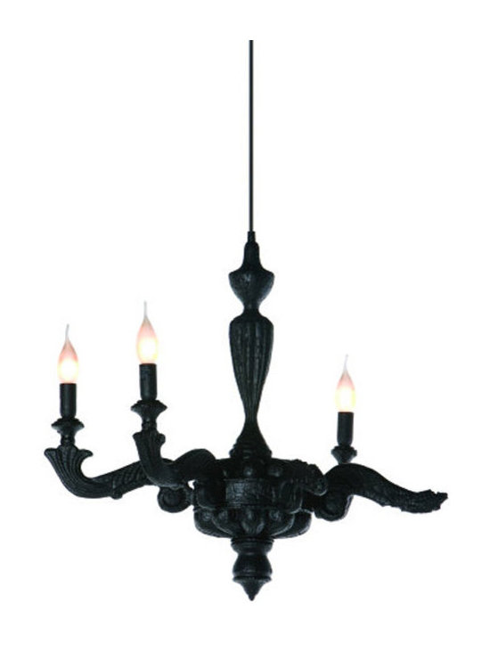 Moooi - Smoke Chandelier - Smoke chandelier features the enchanting texture of burnt wood with epoxy in black. Each fixture differs due to the production process. Features 156 inch black field adjustable suspension cable and smoked black canopy. Three 40 watt, 120 volt, B10 candelabra base incandescent lamps not included. General light distribution. UL listed. 25.6 inch width x 21.7 inch height.