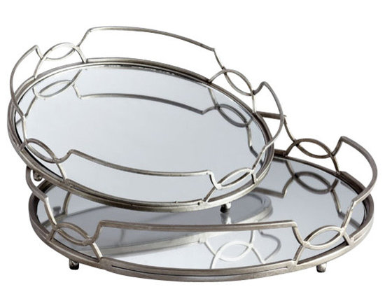 Zuo - Graphic Curves Mirrored Tray Set - The Graphic Curves Mirrored Tray Set is at once classic and contemporary.  Featuring stainless steel construction with interlocking circles along the rails, the trays feature an inset of mirror for additional glamour.  Use them for light serving pieces or for displaying choice accessories such as candles or vases.  The Graphic Curves Mirrored Tray Set features both a large and medium size tray.