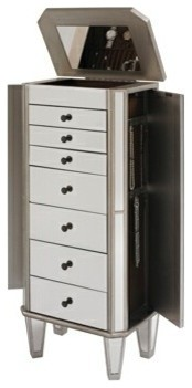 Mirrored Jewelry Armoire With Silver Wood Finish contemporary-dressers ...