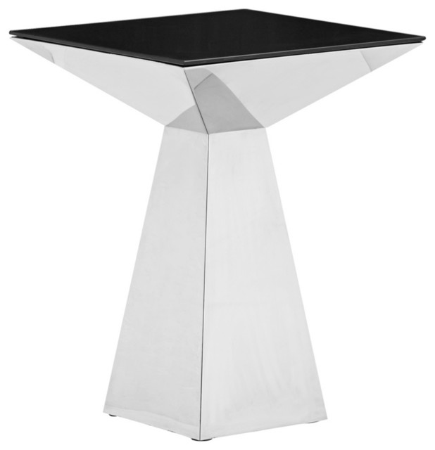Zuo Tyrell Stainless Steel and Black Glass Side Table contemporary-side-tables-and-end-tables