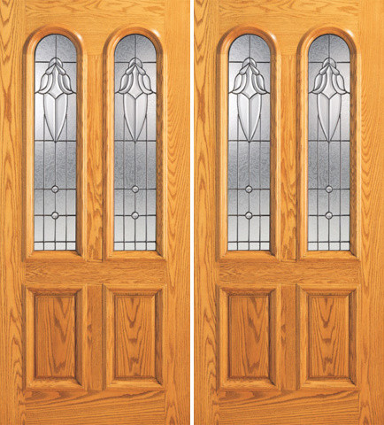 Mahogany twin lite arch lite entry double door insulated for Insulated entry door