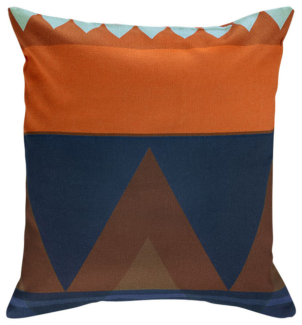 Orange Decorative Bed Pillows : Savanna Pillow Cover, Orange/Blue Multi - Contemporary - Decorative Pillows - by Nine Space