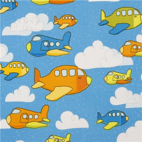 blue riley blake airplane fabric for boys fabric by