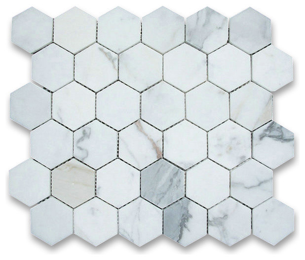 Calacatta Gold 2 inch Hexagon Mosaic Tile Honed - Marble from Italy wall-and-floor-tile