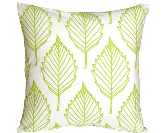 Pillow Decor - Pillow Decor - Contemporary Lime Green Leaf Throw Pillow - This is a fresh contemporary throw pillow made from soft 100% cotton fabric. The front features an outline leaf pattern in lime green. The back is a solid color panel in the same lime green. With its crisp white background, this is the perfect pillow to brighten up a kitchen nook or window seat, or to add a little color on matching color bed linens.