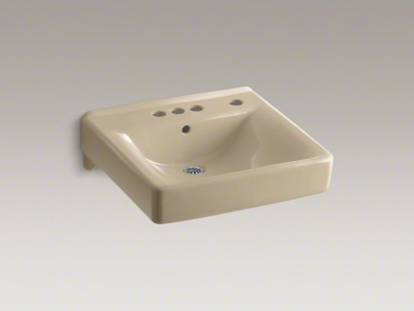 """KOHLER Soho(R) 20"""" x 18"""" wall-mount/concealed arm carrier arm bathroom sink with contemporary-bathroom-faucets-and-showerheads"""
