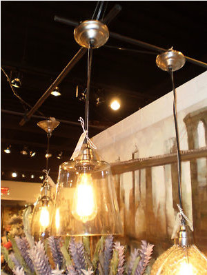 """WAREHOUSE VINTAGE CHIC 10"""" RECYLED GLASS PENDANT LIGHT eclectic-pendant-lighting"""