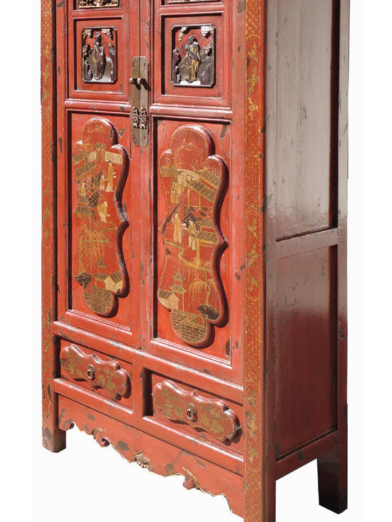 Gold Flower Painting Carving Armoire Red Chinese Antique Cabinet - Look at this Chinese antique armoire which is made of solid elm wood. The front of cabinet has original flower gold painting and carving on it. It should be gorgeous to decorate your house.
