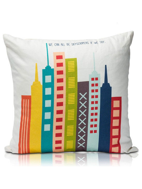 "Skyscraper Pillow - Lil' Pyar has partnered with AdoptAClassroom.org in an effort to GIVE BACK TO TEACHERS!  The design was inspired by the poem, ""Skyscrapers,"" by young Katarina T.,  a student from Lithia, Florida.  Katarina wanted to inspire others to find our own skyscraper inside!  Her words encourage us to be our tallest building and aim for the highest height in life!"