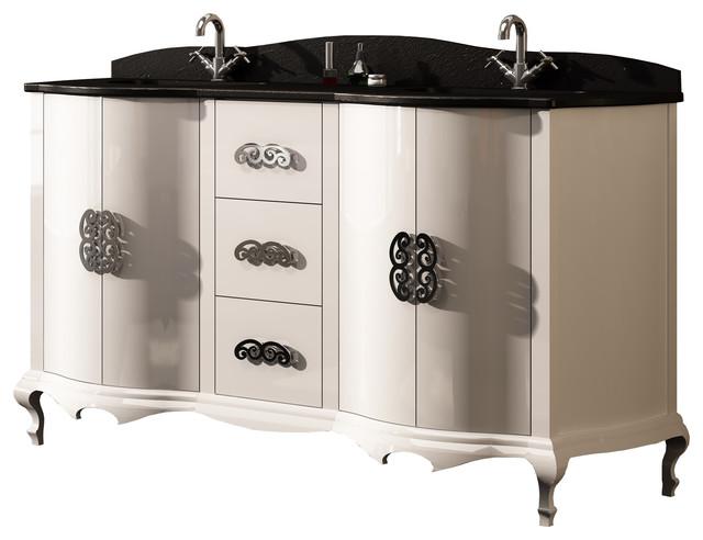 60 6 Venezia Master Bathroom Vanity Double Sink White Gloss Contemp