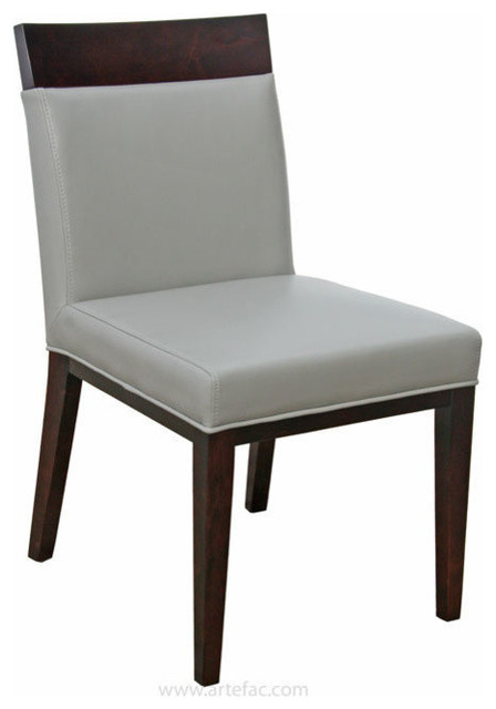 2 - Top Grain Leather Dining Chair in Cream or Grey, Grey ...