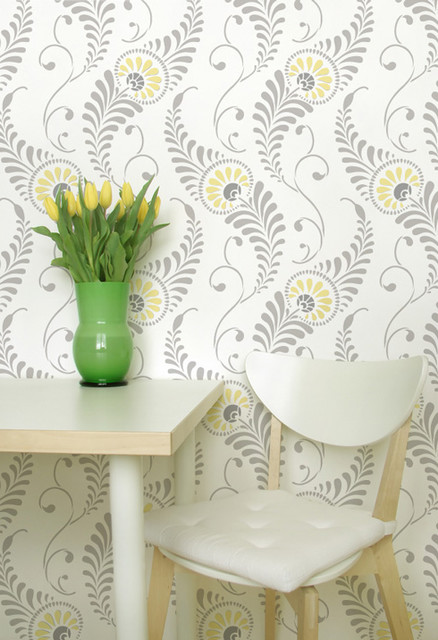 Feathered Damask eclectic stencils