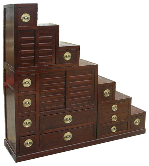 Brown Orient Tansu Step Cabinet TV Display Stand