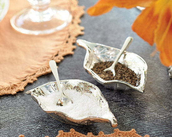 Ballard Designs - Bunny Williams Leaves Salt & Pepper Holders - Set includes 2 holders & 2 spoons. Handmade of silver-plated brass. For entertaining expert, Bunny Williams, the less stress, the better the party. That's why she prefers salt and pepper holders to traditional shakers it's easier to refill them and nicer for guests. An avid gardener, Bunny designed these Leaf-shaped holders to bring the outdoors in.Bunny Williams Leaves Salt & Pepper Holder features: . .