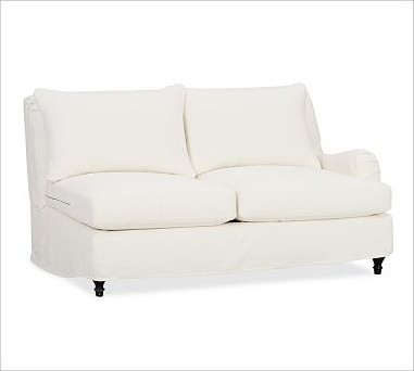Carlisle Right Arm Love Seat Slipcover, Twill White traditional-living-room-chairs