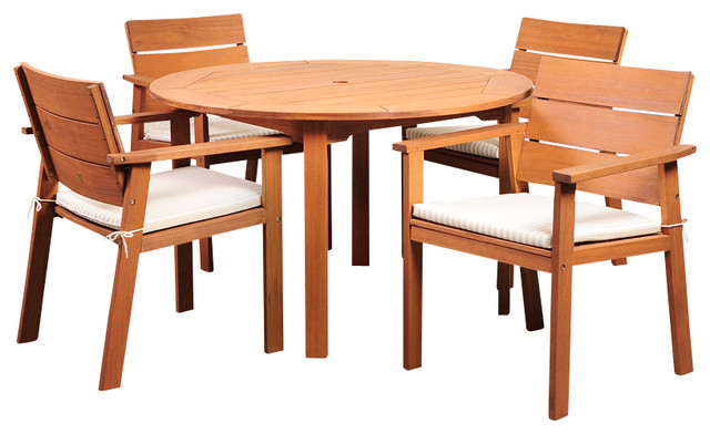 Amazonia Nelson Eucalyptus 5 Piece Round Dining Set contemporary-patio-furniture-and-outdoor-furniture