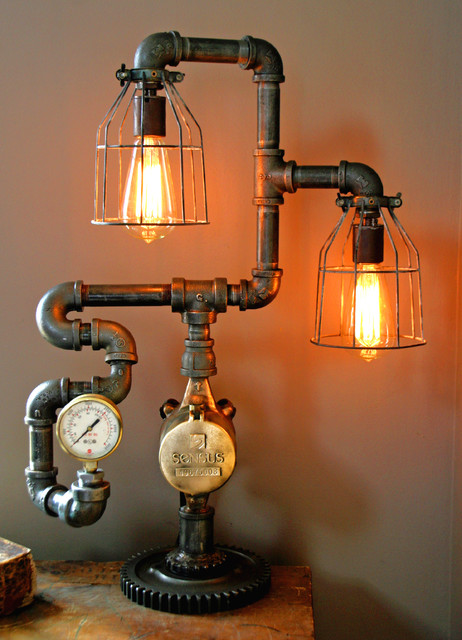 Steampunk gear steam gauge lamp eclectic minneapolis for Pipe lamp plans