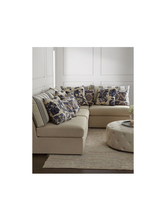 """Massoud - Massoud """"Milana"""" Sectional Sofa - Clean lines dressed in neutral upholstery and an abundance of blue and white patterned pillows make this sectional sofa the perfect choice for informal gatherings. Since the units are available separately as well as together, you can configure your own...."""