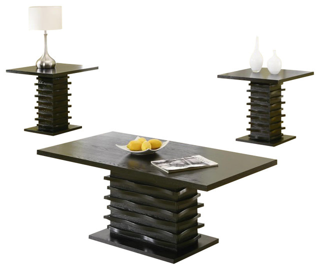 Coaster 3 Piece Occasional Table Sets Coffee And End Table Set In Stark Black Modern Side