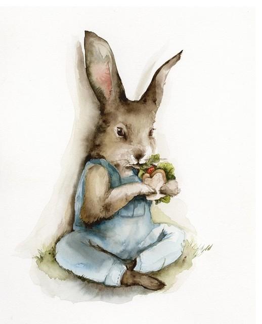 Lunch Break Rabbit Art By Amber Alexander traditional-nursery-decor