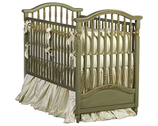Gretels Antique Spindle Crib, Versailles Green Finish -