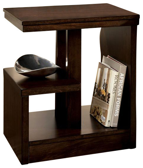 Contemporary Dark Brown Chairside End Table W