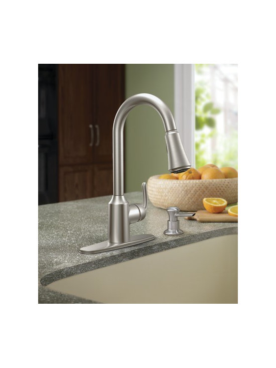 Moen Bayhill Spot resist stainless one-handle high arc pulldown kitchen faucet - The beautifully designed Bayhill™ line features soft curves and flowing lines to complement any home. Bayhill offers an updated, yet classic design for those who prefer traditional styles.