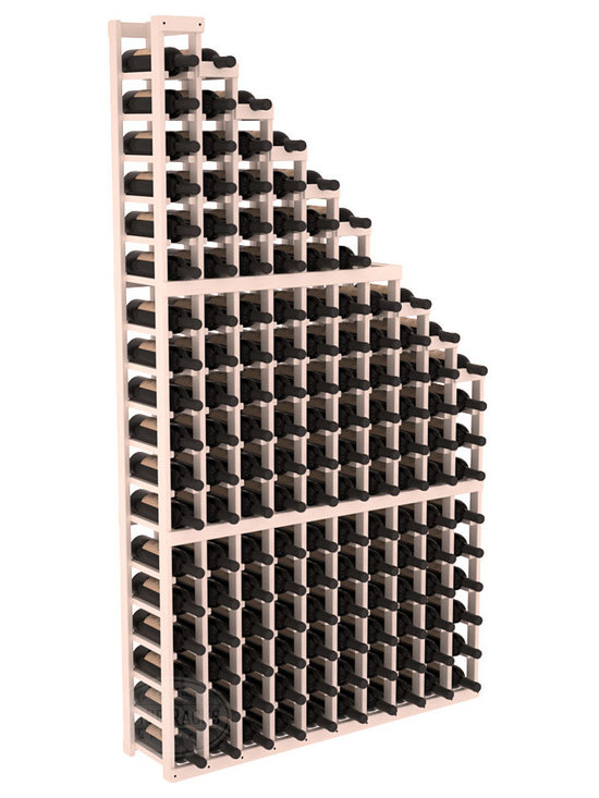 Wine Cellar Waterfall Display Kit in Pine with White Wash Stain + Satin Finish - A beautiful cascading waterfall of wine bottle displays. Create a spectacle of 9 of your favorite vintages. Designed within our modular specifications and to Wine Racks America's superior product standards, you'll be satisfied. We guarantee it.