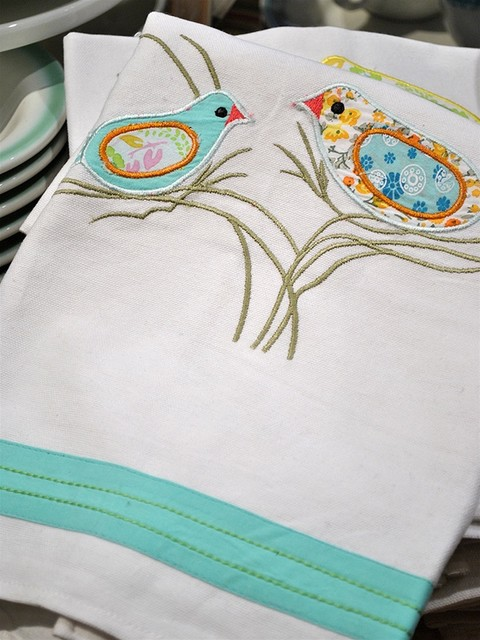 Appliqued Songbird Tea Towels eclectic dishtowels