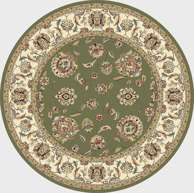 "Traditional Ancient Garden Round 7'10"" Round Green-Ivory Area Rug traditional-rugs"