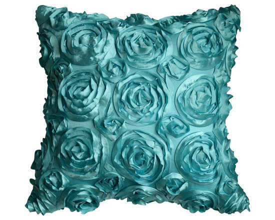 KH Window Fashions, Inc. - Texture Rose Pillow- Aqua, With Insert - This textured rose pillow adds a pizazz to any space. The texture is exquisite.
