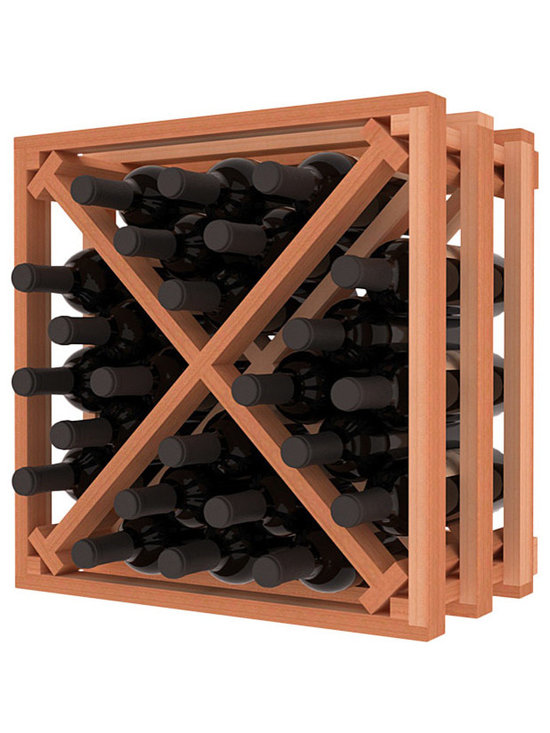 Lattice Stacking X Wine Cube in Redwood - Designed to stack one on top of the other for space-saving wine storage our stacking cubes are ideal for an expanding collection. Use as a stand alone rack in your kitchen or living space or pair with the 16-Bottle Cubicle Wine Rack and/or the Stemware Rack Cube for flexible storage.