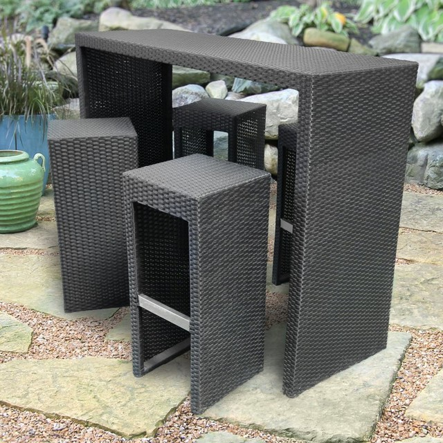 Royal Garden All Weather Wicker Bar Set Black 3C RY1055S Contemporary