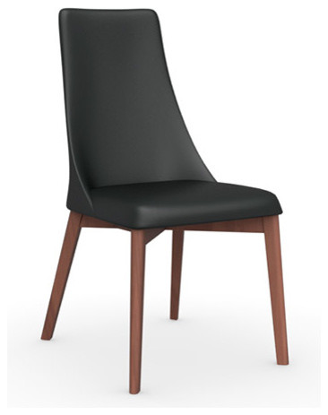 Etoile Leather Chair, Walnut Legs, Black Seat, Set of 2 modern-dining-chairs