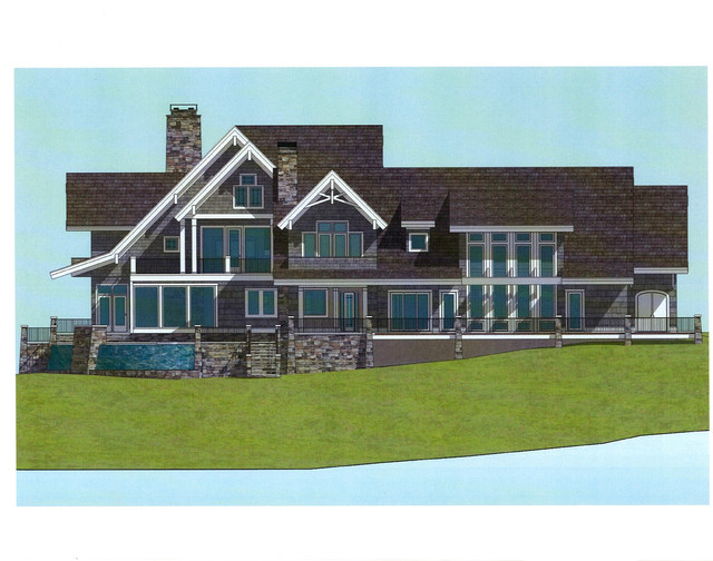 Vacation lakefront home custom design 7 500 square feet for Vacation home plans waterfront