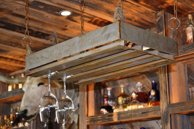 Rustic Stainless Steel Wine Glass Rack