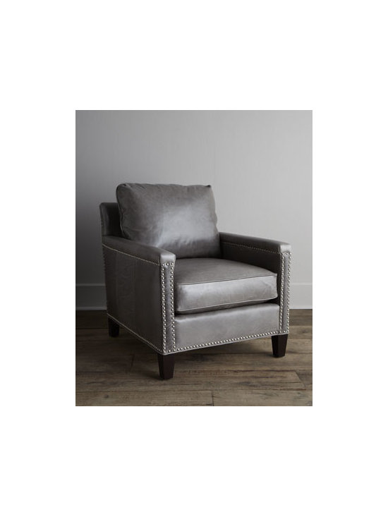 """Horchow - Gordon Leather Chair - Luxurious chair features soft leather and a sink-into-this back cushion to create a comfy haven for relaxing and reading. Analine-dyed gray leather upholstery. Walnut frame. Feather-and-down seating. Nailhead trim. Finished back. 28""""W x 35""""D x 3..."""