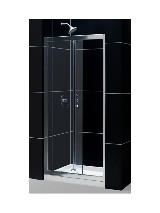 "DreamLine Butterfly 30"" - 31"" Bi-Fold Frameless Shower Door SHDR-4532726-01 - The space-saving Butterfly frameless bi-fold door provides convenient wide walk-in opening into your shower. Reversible for either left or right door opening this door is a great bi-fold shower door solution for your bathroom renovation project. The unique frameless design of the Butterfly door gives this door a custom glass look. For difficult installations, the Butterfly door also allows for out-of-plumb and width adjustment of up to 1"" on each side. With its flexible smart design and amazing looks the Butterfly frameless bi-fold shower door is the right answer for your bathroom renovation project."
