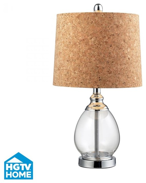 One Light Clear Cork Cork, Styrene Shade Table Lamp contemporary-table-lamps