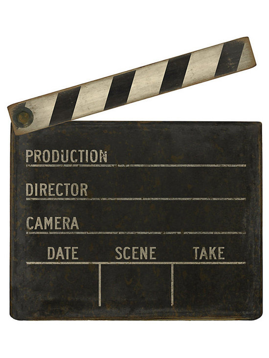 Ballard Designs - Film Clapboard - Distressed hardware on clapper. Great gift for a movie buff. Camera. Rolling. Action! Bring old Hollywood into your home with this fun, unexpected piece of wall art. Image is digitally printed on medium-density fiberboard for a realistic look. Arrives ready to hang. Film Clapboard features: . .