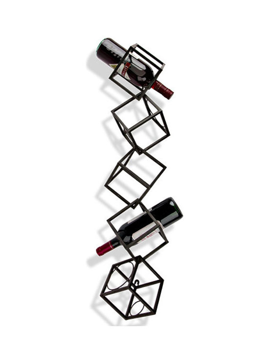 Cube Design Wall Wine Rack - Five attached metal cubes appear to tumble down a wall in random fashion. It would be the perfect piece of geometric contemporary artwork were it not for its usefulness as a wine rack!
