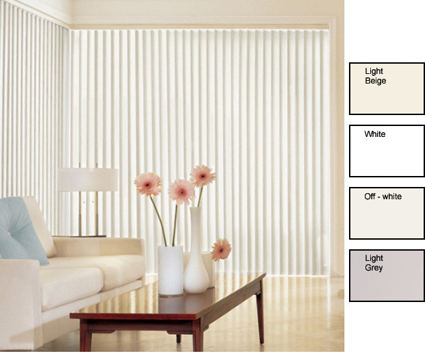 Solid Vinyl Vertical Blinds (44 in. W x Custom Length) contemporary-window-blinds