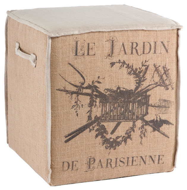 French Country Le Jardin Burlap Accent Cube Ottoman transitional-footstools-and-ottomans