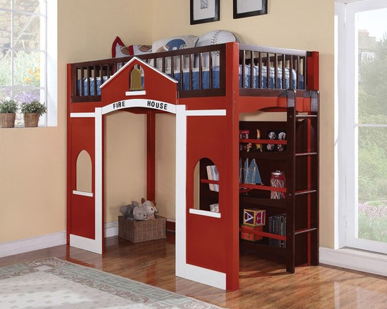 Fire House Twin Loft Bed - The Fola Loft Bed in Espresso and Red features twin top loft bed with Built-in bookcase and play area underneath. This cute Loft bed has the fire house design. It is suitable for children up to 12 years old.